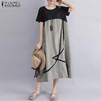 Plus Size ZANZEA Women Casual Summer O Neck Short Sleeve Pockets Party Baggy Midi Dress Loose