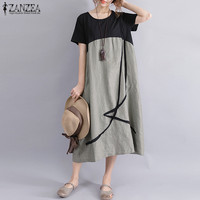 Plus Size ZANZEA Women Casual Summer O Neck Short Sleeve Pockets Party Baggy Midi Dress Loose