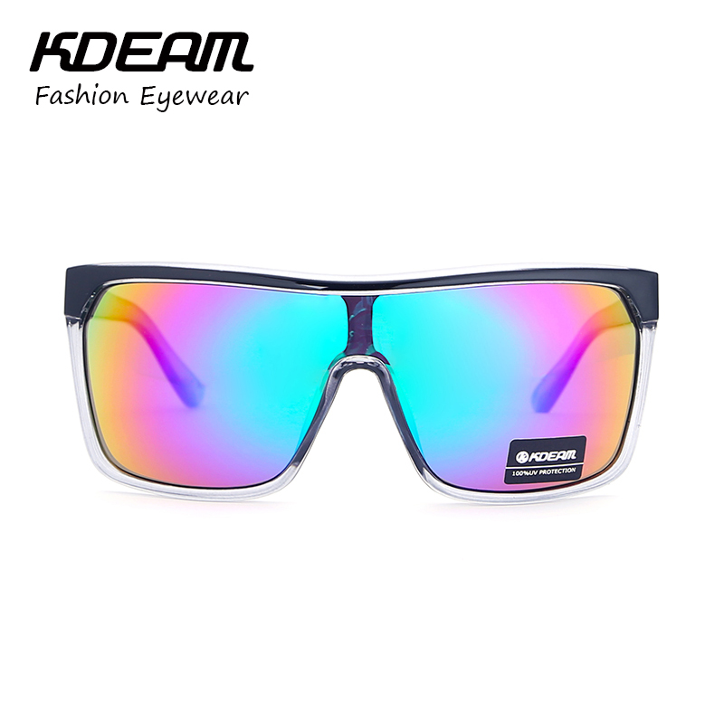 d854bb56da KDEAM Brand Men Goggle UV400 Sunglasses Flat top Frame Big Women Sun Glasses  Sport Windproof Glasses 4 colors with Case KD802-in Sunglasses from Apparel  ...