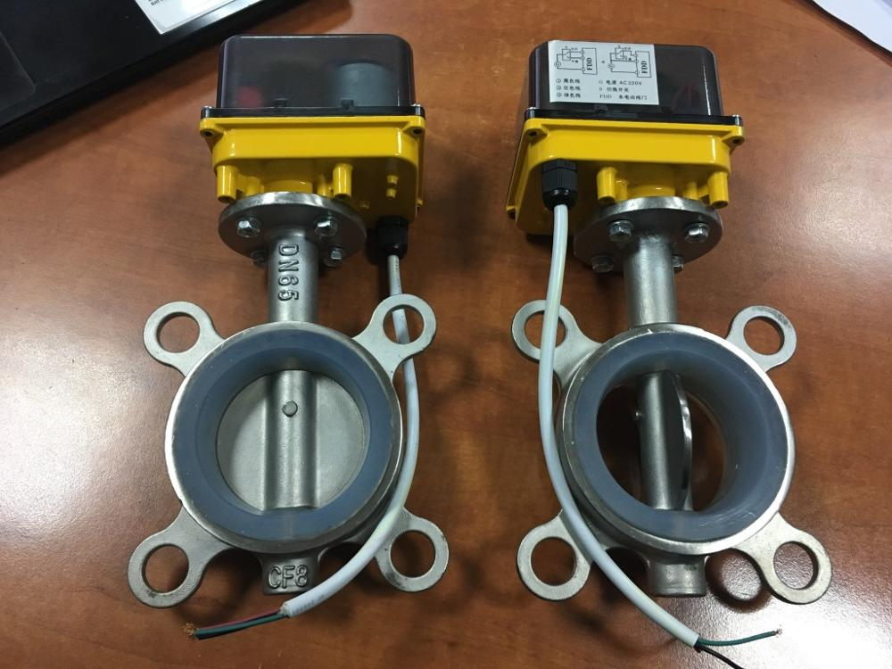 Small Equipment Accessories DN40,DN50,DN65 Stainless Steel Electric Butterfly Valve,12VAC//DC,24VAC//DC,AC220V Motorized Butterfly Valve
