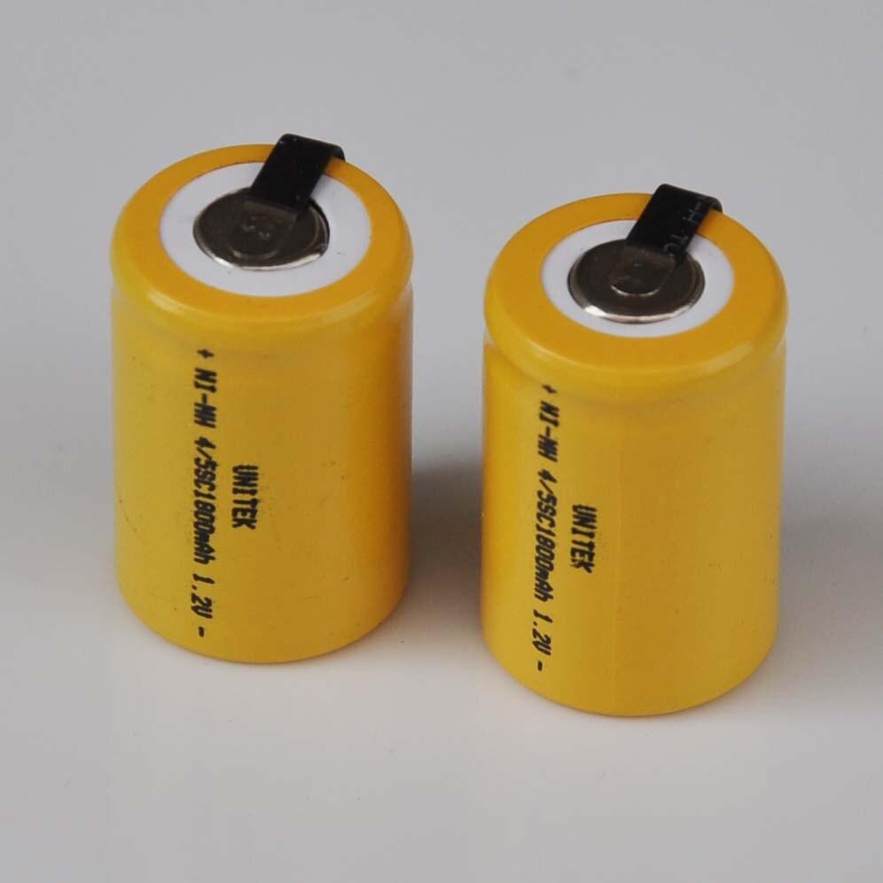 2-5 uds 1,2 V 4/5SC recargable de 1800mah de la batería 4/5 SC C Ni-MH nimh celda con soldadura de pestañas para taladro eléctrico destornillador