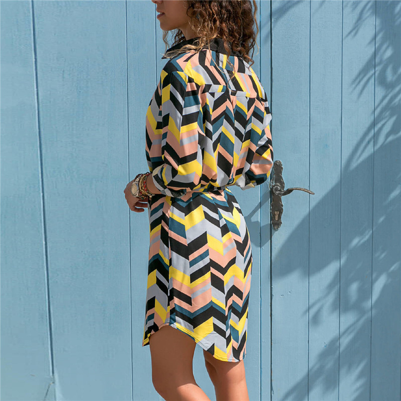 Long Sleeve Shirt Dress 19 Summer Boho Beach Dresses Women Casual Striped Print A-line Mini Party Dress Vestidos 15
