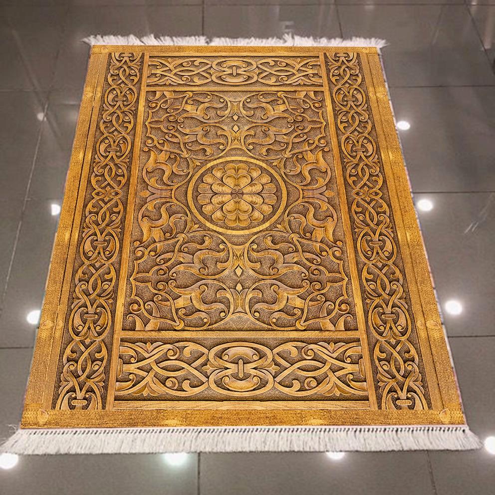 Else Yellow Floor On Brown Wood Carving 3d Pattern Print Microfiber Anti Slip Back Washable Decorative Kilim Area Rug Carpet