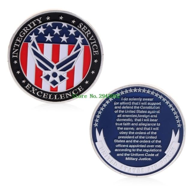 US $1 2 13% OFF|The oath of the United States Air Force Commemorative Coins  Challenge Coin Collection Novelty Gift-in Non-currency Coins from Home &
