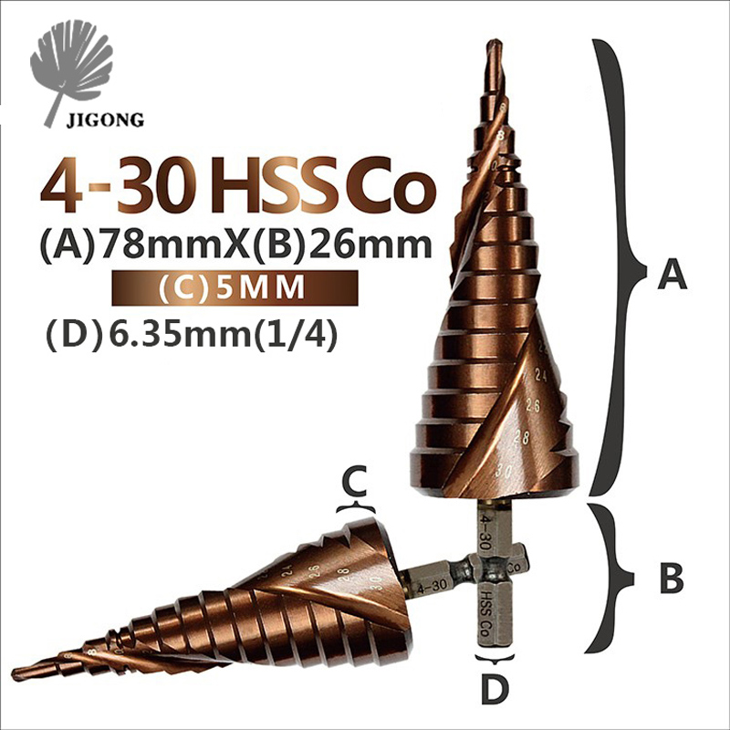 HSS CO / M35 Hex Shank 4-30MM Spiral Groove Metal Step Cone Drill Bit Stainless Steel Hole Saw Cutter Wood Power Tool цены