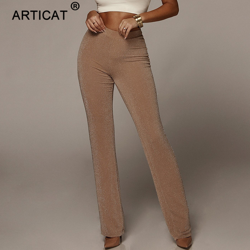 Articat Summer High Waist Wide Leg Pants Women Bottoms Solid High Elastich Flare Pants Skinny Casual Beach Party Trousers Women
