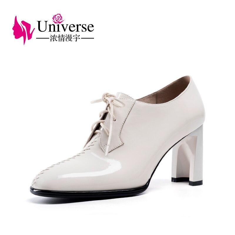 Ayakk.'ten Ayak Bileği Çizmeler'de Evren eğlence yarım çizmeler kadınlar dantel up hasta deri el yapımı lüks siyah bej Sonbahar çizmeler yüksek topuklu kadın ayakkabı H157'da  Grup 1