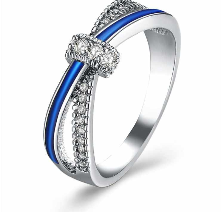 European European Fashion Jewelry Jewelry Female Crystal from Swarovski SimpleLuxury sapphire ring Couple ring fashion jewelry
