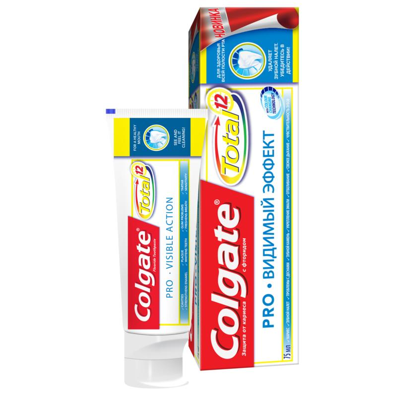 COLGATE TOTAL 12 Pro-Visible effect complex toothpaste, 75ml colgate optic white sparkling white whitening toothpaste 75 ml