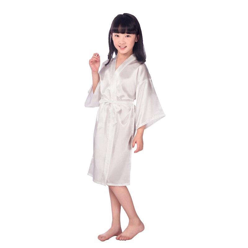 1338ecab1780f 5pcs/lot Flower girl stain robes bathrobe girls kimono solid robe children  peignoir enfant B27