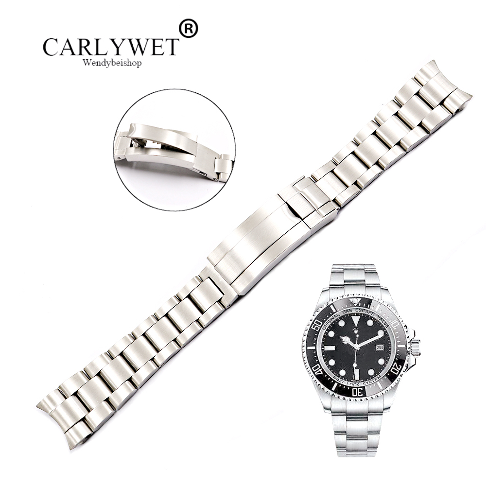 CARLYWET 20 21mm Solide Fin Courbé En Acier Inoxydable Vis Liens Montre-Bracelet Bande Bracelet Glide Flip Verrouillage Fermoir Pour oyster Deepsea