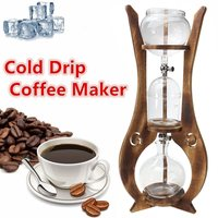 600ml 6 Cups Glass Cold Drip Iced Coffee Maker Brew Dutch Machine Wooden Tower Espreeo Brewer Home Kitchen Coffee Tools Kit