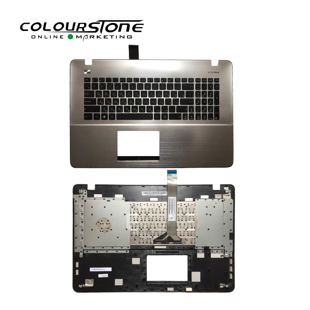 New Russia black with silver palmrest cover c laptop keyboard for Asus X751 X751LB X751LD X751LJ X751LK X751MJ X751LX keyboard