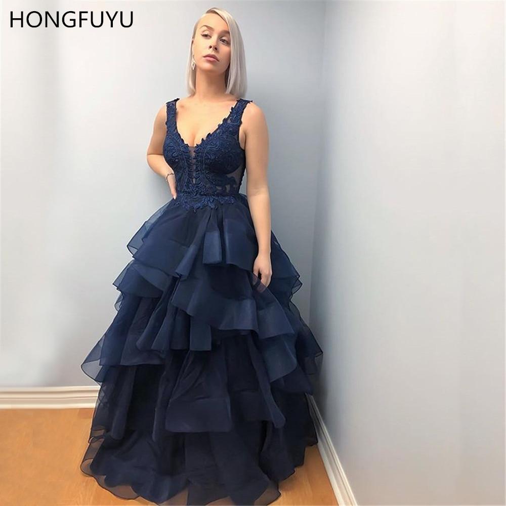 HONGFUYU balo 2021 balo kıyafetleri v yaka kolsuz dantel aplikler abiye uzun Vestidos De Festa mezuniyet elbise