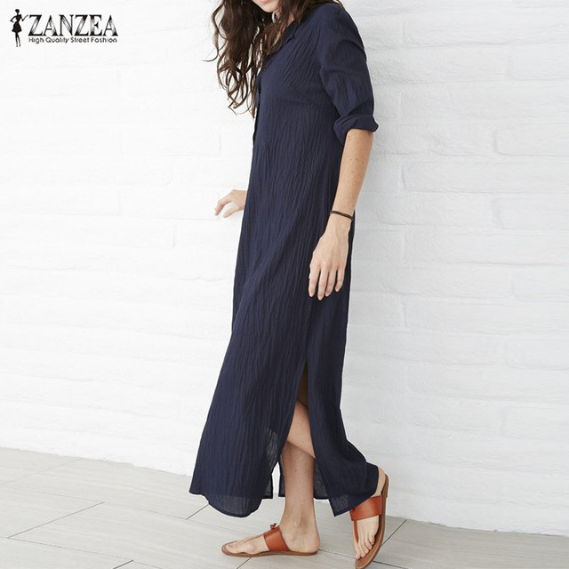 926bf66c896f2 Oversized 2019 Autumn ZANZEA Women Casual Loose Maxi Long Dress Vintage  Sexy V Neck Long Sleeve Solid Split Hem Cotton Vestidos