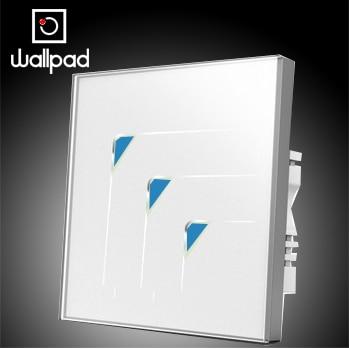 цена на UK Standard Wallpad Luxury White Wall Switch Panel Light Switch,3 Gangs 2 Way Touch Wall Switch LED,110~250V 220V Free Shipping
