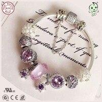 Новое поступление Европейский Известный бренд подарок серебряный jewelrypurple звезды и розовое сердце Шарм серии 100% 925 реальные серебряный брас