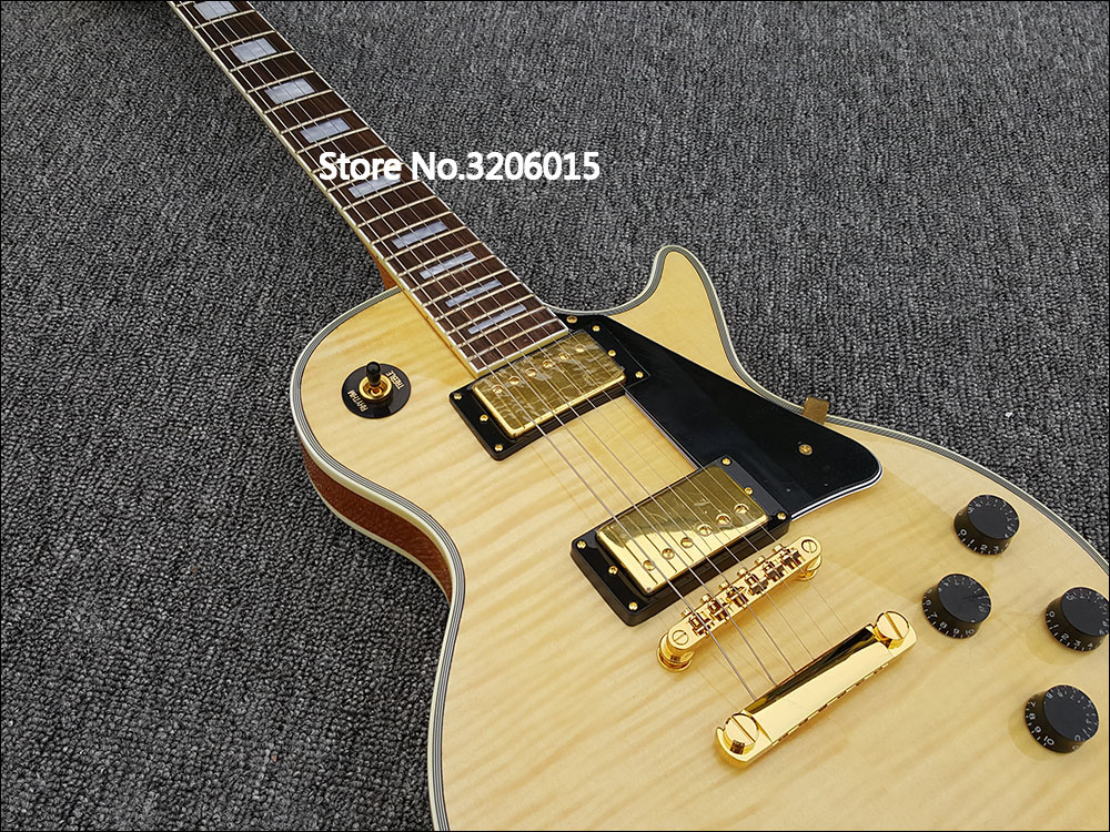 Custom shop,Original wooden tiger stripes and golden guitar accessories with rosewood Fretboard pearl Inlay,high quality!
