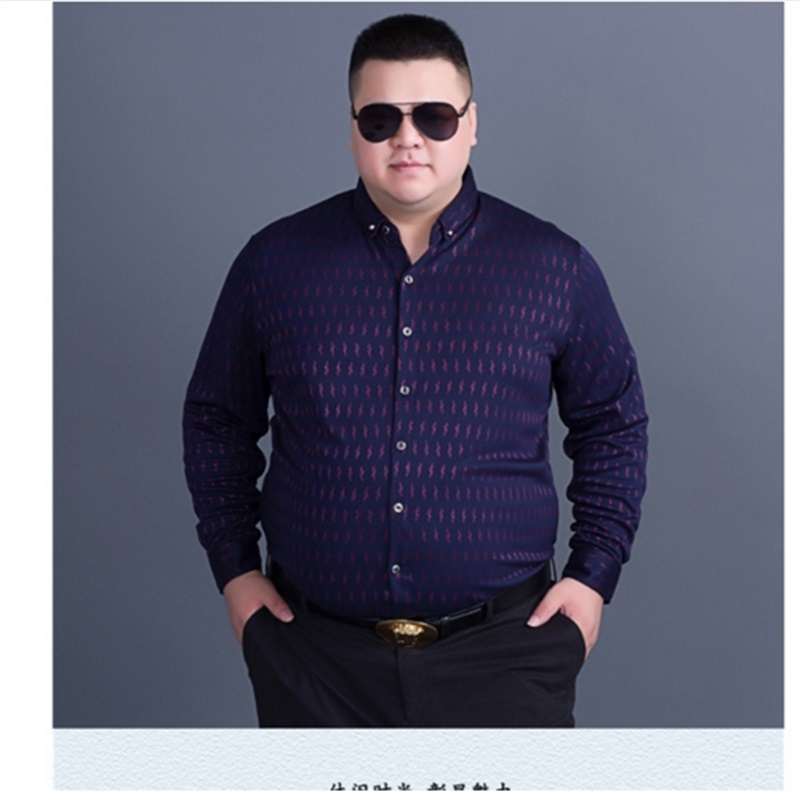 28ede308c Plus size 10XL 8XL 6XL 5XL Men's Long Sleeve Contrast print/Striped Oxford  Dress Shirt Male Casual Slim-fit Buttoned Down Shirts ~ Hot Sale June 2019