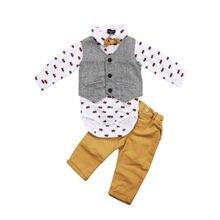 Жилет для маленьких мальчиков; топы с бантом; штаны с длинными рукавами; комплект одежды; комплекты одежды для новорожденных мальчиков; деловой костюм