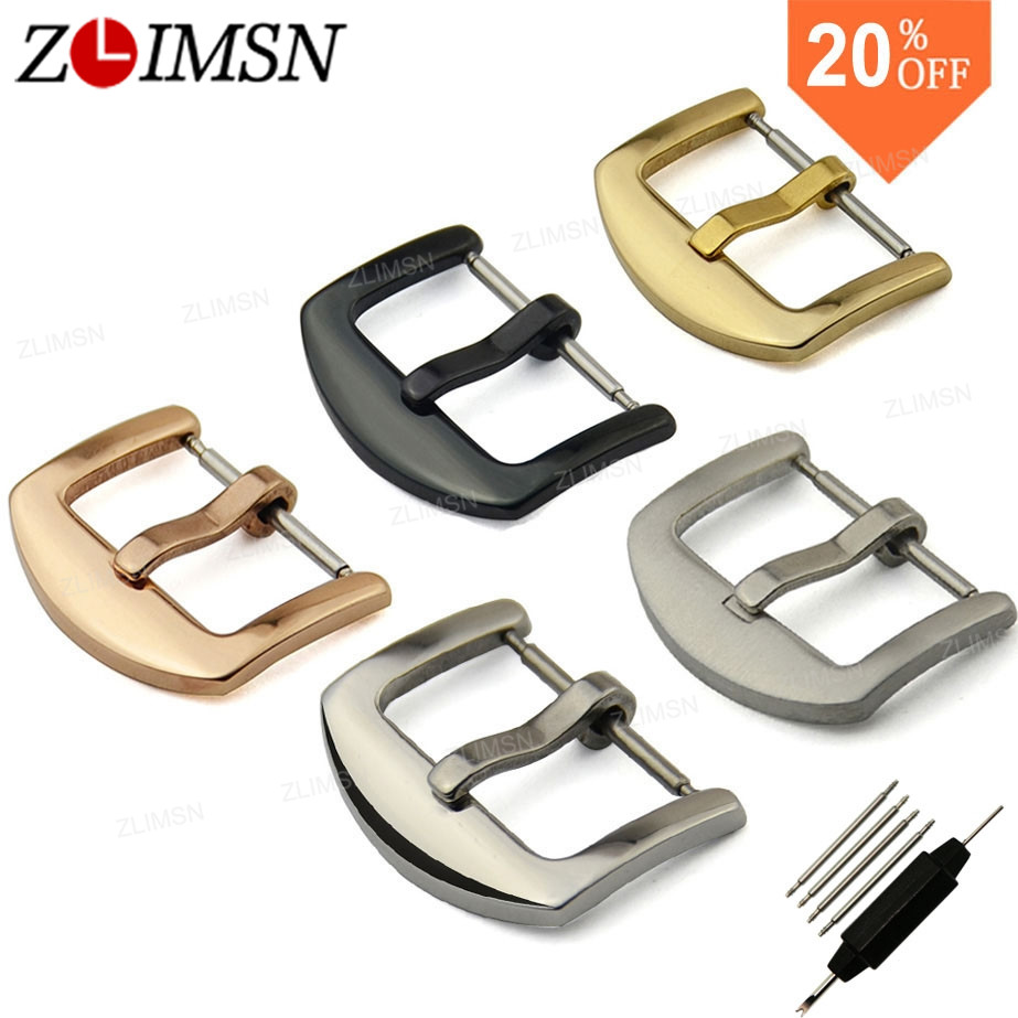 ZLIMSN 10pcs Wholesale Watch Buckle 16 18 20 24mm Stainless Steel Clasp Black Gold Rose Gold Leather Watchbands Accessories zlimsn watch band buckles stainless steel leather straps buckle watchbands 4 colors 16 18 20 22mm watches accessories