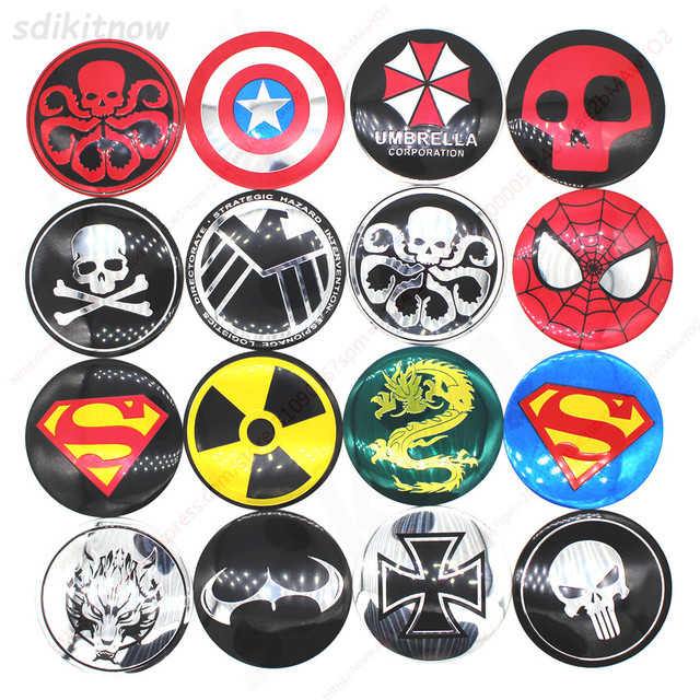 4pcs Funny Skull Hero Car Wheel Center Hub Caps Cover Rim Sticker Emblem Badge Styling For BMW AUDI VW FORD HONDA KIA JEEP OPEL