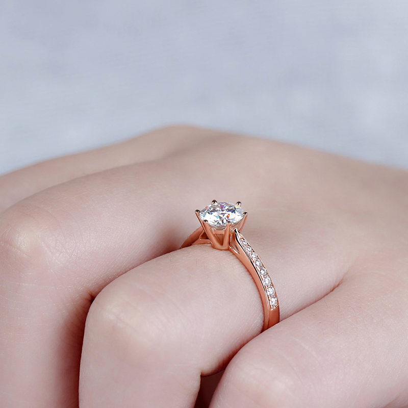 moissanite rose gold emgagement ring (6)