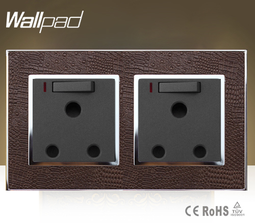 Wallpad Luxury Brown Leather 146*86mm LED Light 15 A Amp UK South Africa Switched Socket With Neon Free Shipping south africa argentina