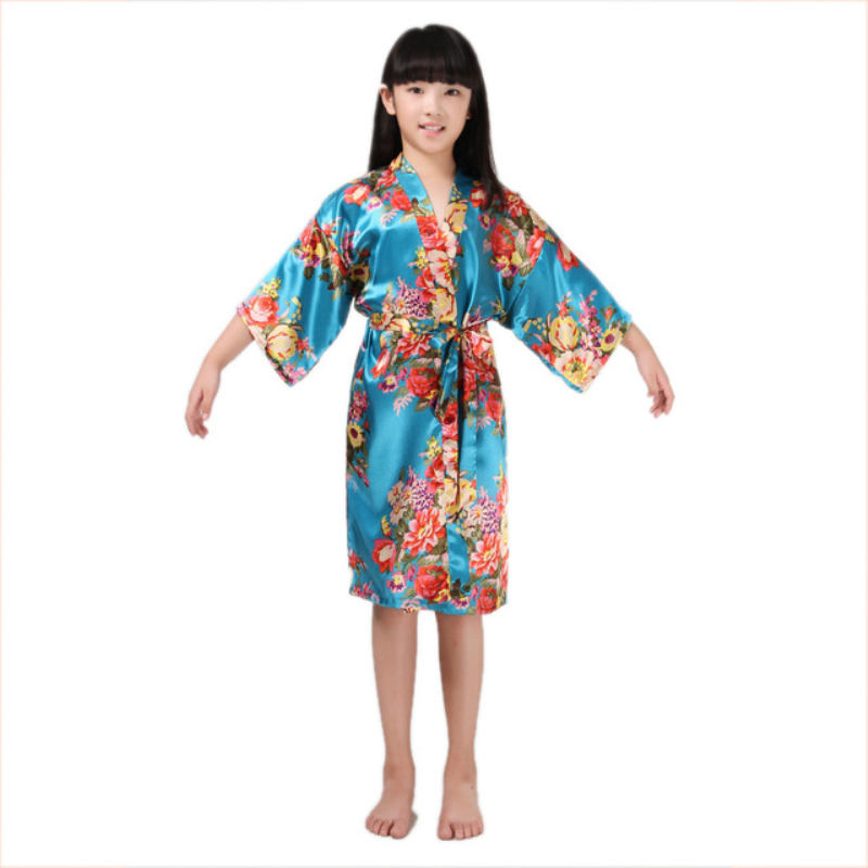10pcs/lot bathrobes for girls robes stain silk Kimono bath robes kids children nightgown floral sleepwear B31