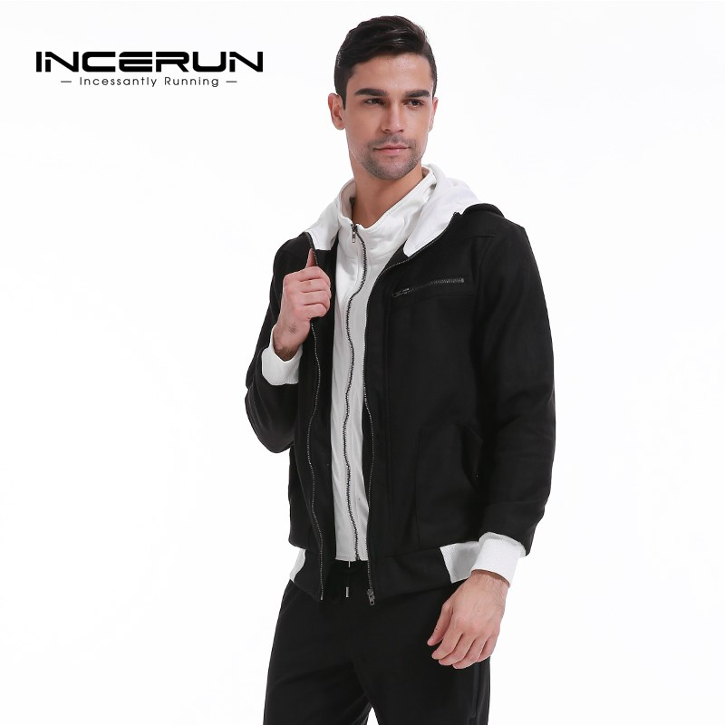INCERUN Men Fleece Lined Autumn Winter Warm Sweats Hoodies Jackets Hooded Splice Mens Casual Slim Fit Tracksuit Sweatshirt