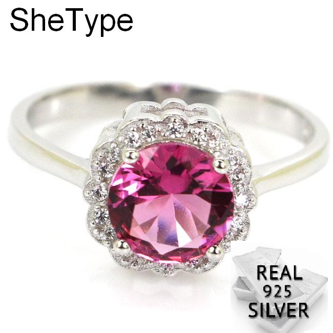 2.7g Luxury SheType Pink Tourmaline White CZ Wedding Woman's 925 Solid Sterling Silver Rings 11x11mm
