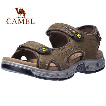 CAMEL  Summer Men's Sandals Genuine Leather Men's Shoes Open Toe for Outdoor Hiking Walking Beach Sports Fisherman Strap Sandal - DISCOUNT ITEM  30% OFF All Category