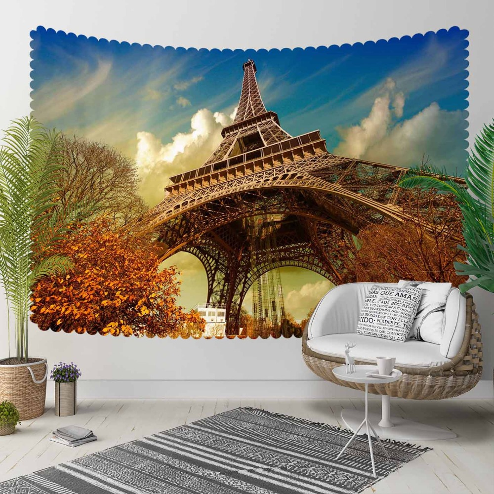 Else Autumn Blue Sky Paris Tower Floral Brown Trees 3D Print Decorative Hippi Bohemian Wall Hanging Landscape Tapestry Wall Art