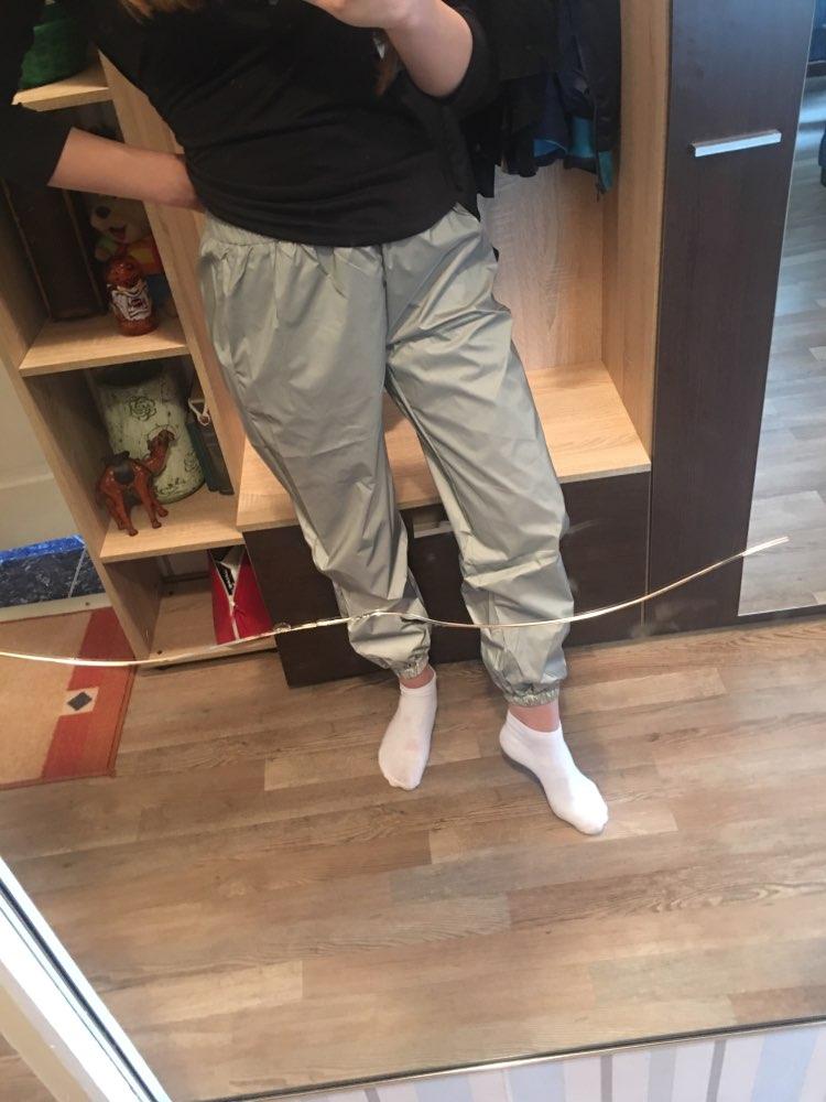 Summer Flash Neon Reflective Pants Women Fashion Joggers Loose Reflective Trousers Plus Size Korean Casual Gray Sweatpants photo review
