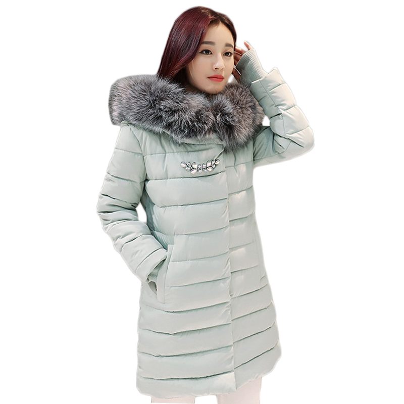 Nouveau Coton De Mode D'hiver Manteau Femme Slim Chaud À Capuchon Parkas Femme Pardessus Glooves Femmes Coton rembourré Veste