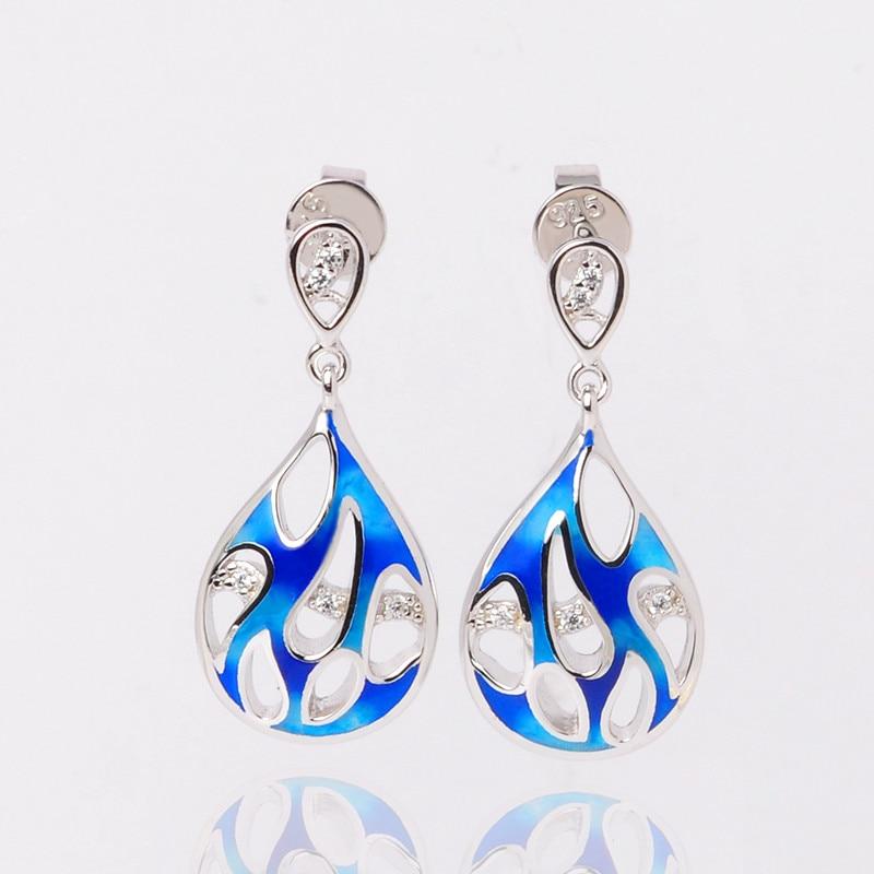 925 Sterling Argent Émail Femmes Boucles D'oreilles Bleu Émail Fleur et Petit Zircon boucles D'oreilles pour les Femmes Parti Bijoux - 6