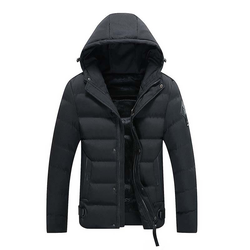 100% QualitäT 2018 Mode Winter Jacke Männer Mit Kapuze Mantel Dicke Samt Warme Mantel Klassische Einfache Parka Männer Schwarz Farbe Bomber Jacke Masculina