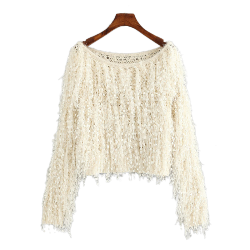 f0cfab70912bc7 SHEIN Apricot Loose Knit Fuzzy Fringe Sweater Casual Elegant Boat Neck Long  Sleeve Crop Pullovers Women Plain Autumn Sweaters