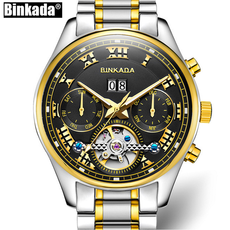 BINKADA New High Quality Men Watches Top Brand Luxury Skeleton Mechanical Watch Clock Men Gold Automatic Watches Men Wristwatch rosdn luxury men gold watches famous brand men s automatic mechanical watch mans gold skeleton mechanical wristwatch