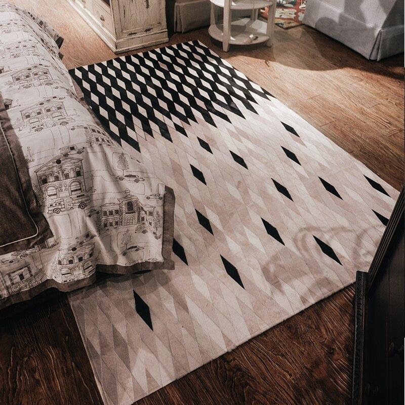 Tapis de chambre nordique fait à la main couverture de peau de vache gris géométrie moderne simple tapis de lit de ménage recouvert de patchwork de fourrure naturelle