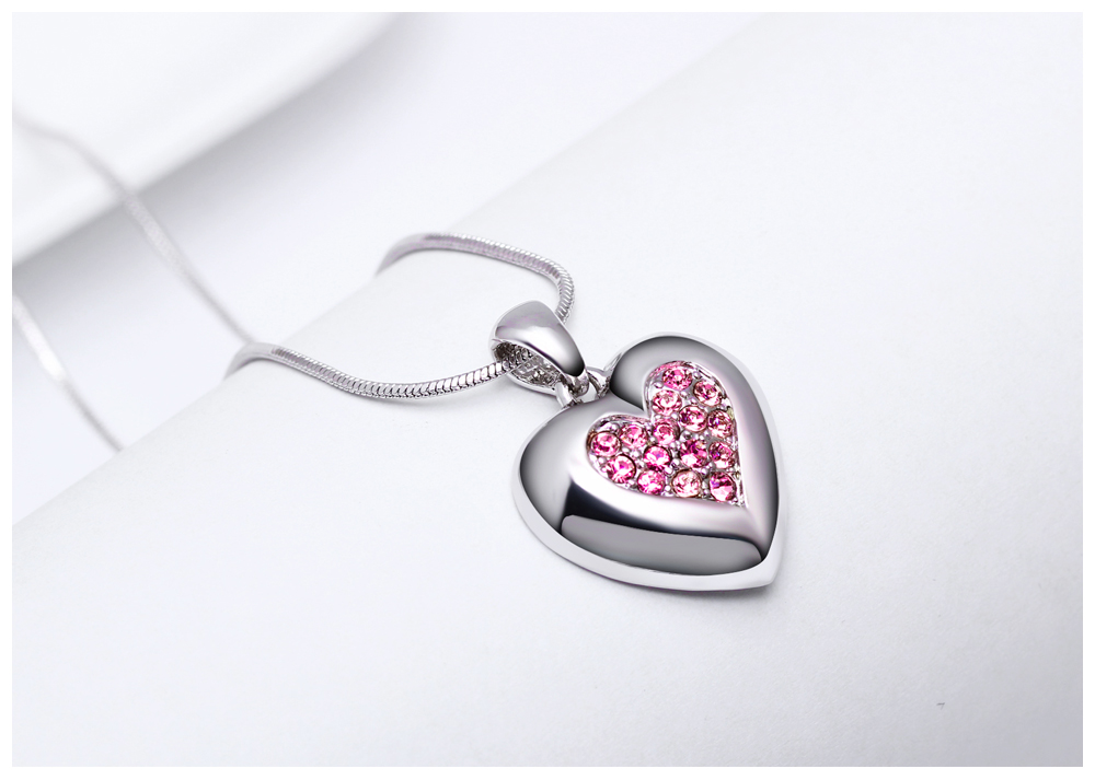 DreamCarnival 1989 Flash Deal Sales Party Jewelry parure Bijoux femme Pink Crystals Heart Pendant Necklace for Women 18N1019 17