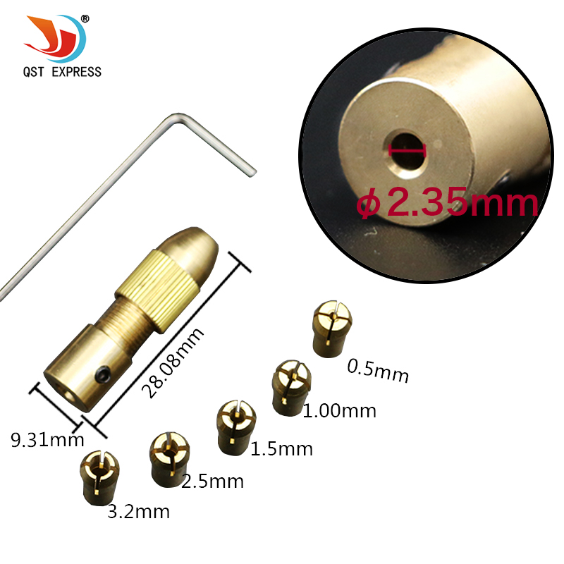 5pcs//Set 0.5-3mm Small Electric Drill Bit Collet Micro Twist Drill Chuck Set