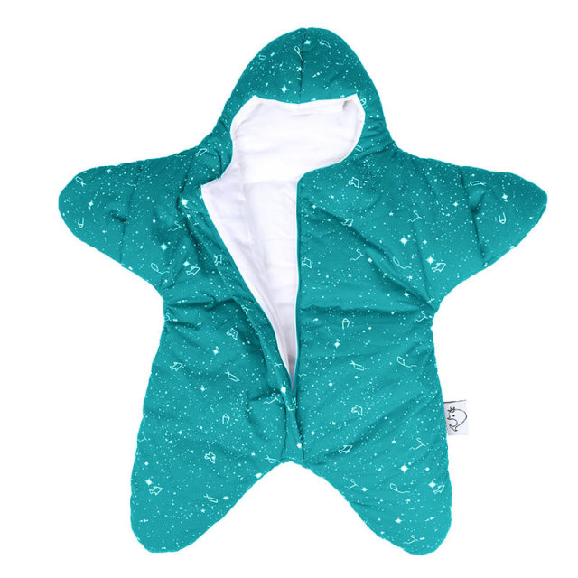 Starfish Design Thick & Warm Baby Swaddle – Green wave