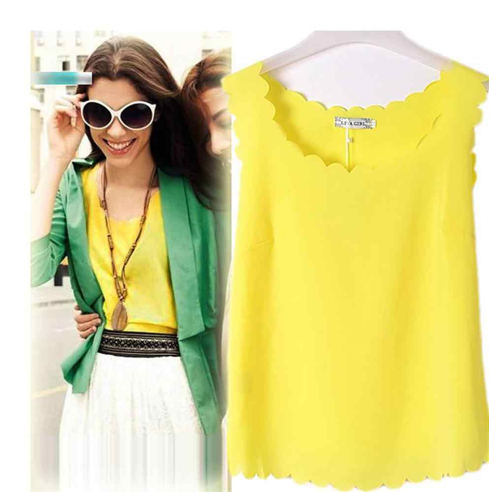 Women Summer Casual Tank Tops Sleeveless Chiffon Loose Vest Top Blouse Tee Shirt Hot Selling