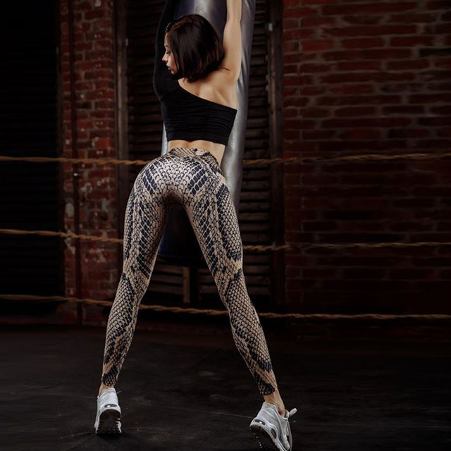 Sexy Hips Push Up Sporting Snake Pattern Printed Leggings