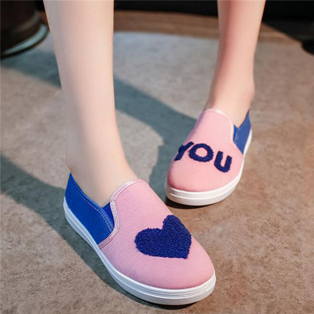 Women Love You Casual Slip-on Flat Canvas Lazy Shoes Sneakers Loafers Size 35-41 exotic chinese retro totem embroidery shoes woman canvas flat heel mules cool fish warping slip on slipper casual slides size 41
