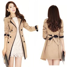 Autumn Winter 3XL Women Slim Casual Trench Coats Female Pockets Windbreaker Coat