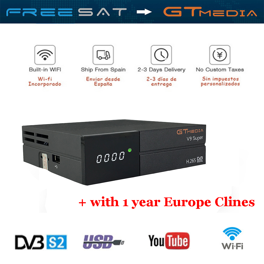 Satellite TV Receiver Gtmedia V9 Super Power by freesat DVB-S2 1 Year Europe 5CCcam as a gift Support Built-in WIFI IPTV TV Box kii pro android 5 1 1 tv box built in 2 4g