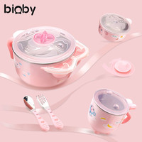 6Pcs/Set Baby Infant Dinnerware Set Warm Insulation Bowl Nonslip Suction Cup Bowl Spoon Fork Cup Tableware Kids Feeding Supplies