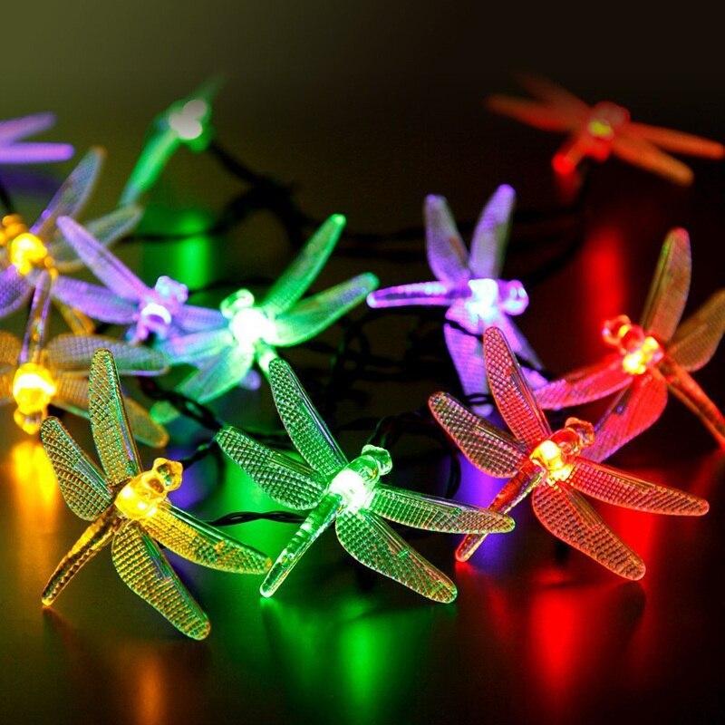 Mising 20 LED Dragonfly Solar Light Garden Colorful String Lights Solar Powered Outdoor Lighting Home Decor